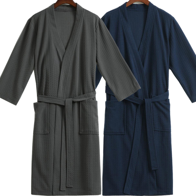 Lovers Waffle Bath Robe Navy Grey Kimono Cotton Bathrobes Man Night Dressing Gown for Men Women XL Male Robes Mens Sleepwear
