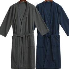 Men Waffle Bath Robe Suck Water Cotton Bathrobe Male Night Dressing Gown Mens Plus Size Kimono Robes Classic Lounge Sleepwear