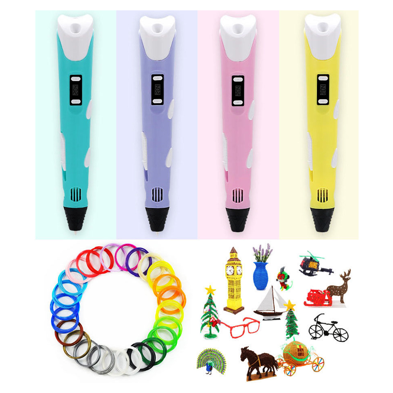 DIY 3D Printing Pen 12V 2A Smart 3D drawing pens LED Indicator ABS PLA Filament 3D Pen Creative Gifts For Kids Birthday