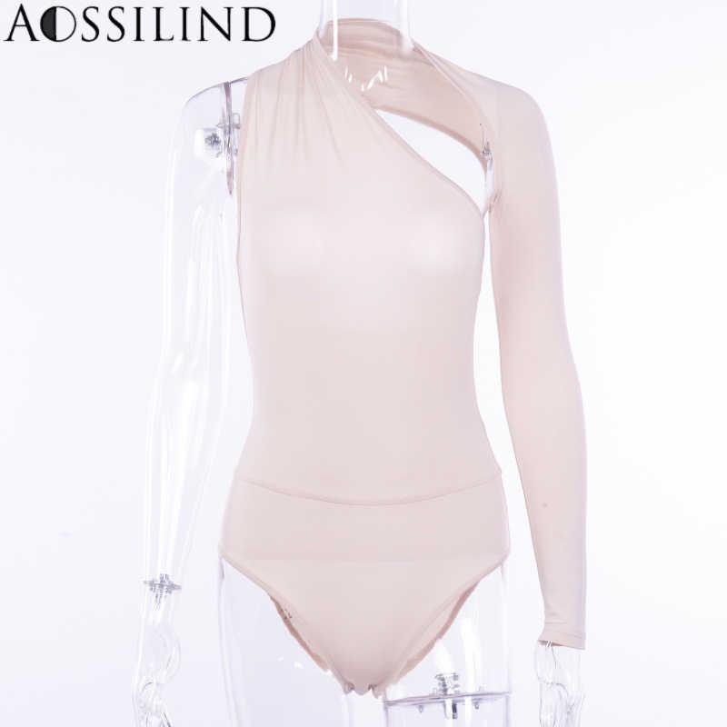 AOSSILIND Сексуальная одно плечо спинки тощий боди Для женщин осень с длинным рукавом выдалбливают комбинезон Дамы облегающий костюм