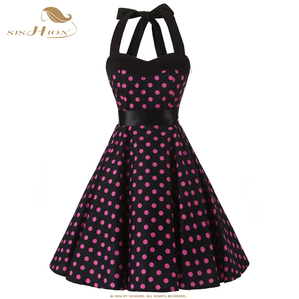 SISHION Cotton Summer Dress S XXL 50s 60s Retro Big Swing Plus Size Vintage Dress Halter Tunic Elegant Black Women Dresses VD524