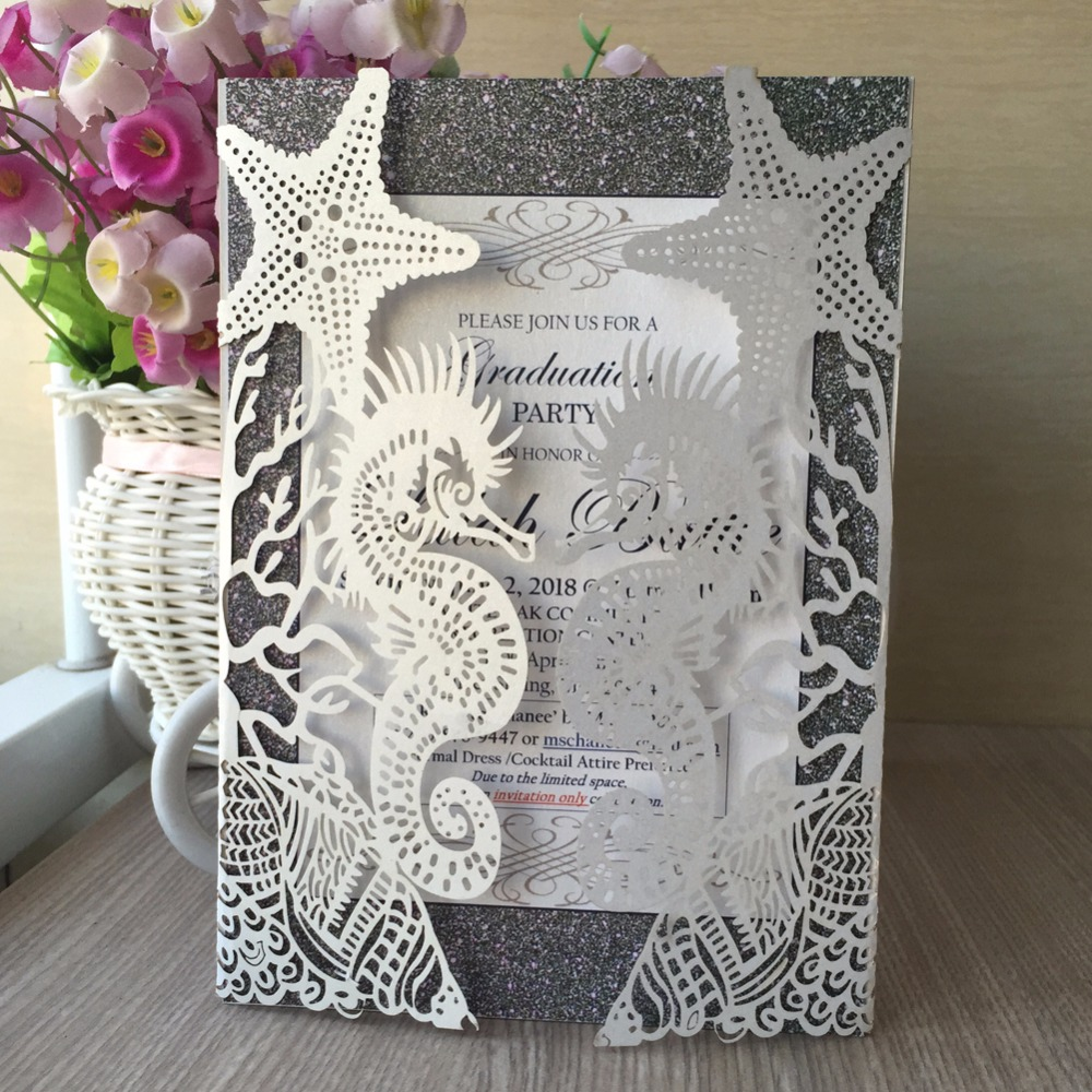 50pcs Laser Cut Royal Romantic Shiny Pearl Paper Wedding Decotation