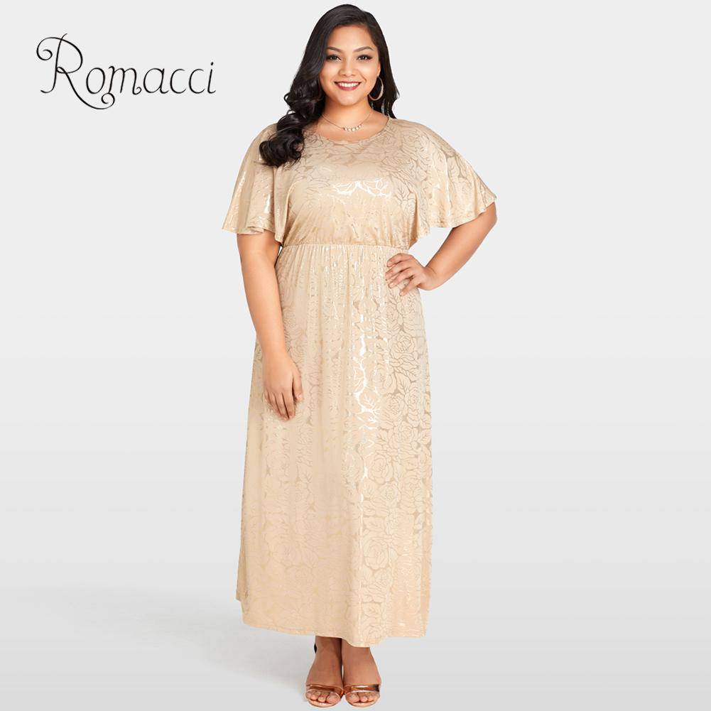 US $17.75 44% OFF|Romacci Long Summer Champagne Dress Women Shining Rose  Floral Print Plus Size Dress Gold Cape Sleeves Evening Party Maxi Dress-in  ...