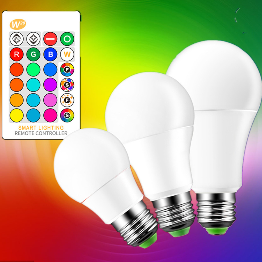 3W 5W 10W E27 16 Color Changing RGB Remote Controlled LED Light Bulb A80 GLS