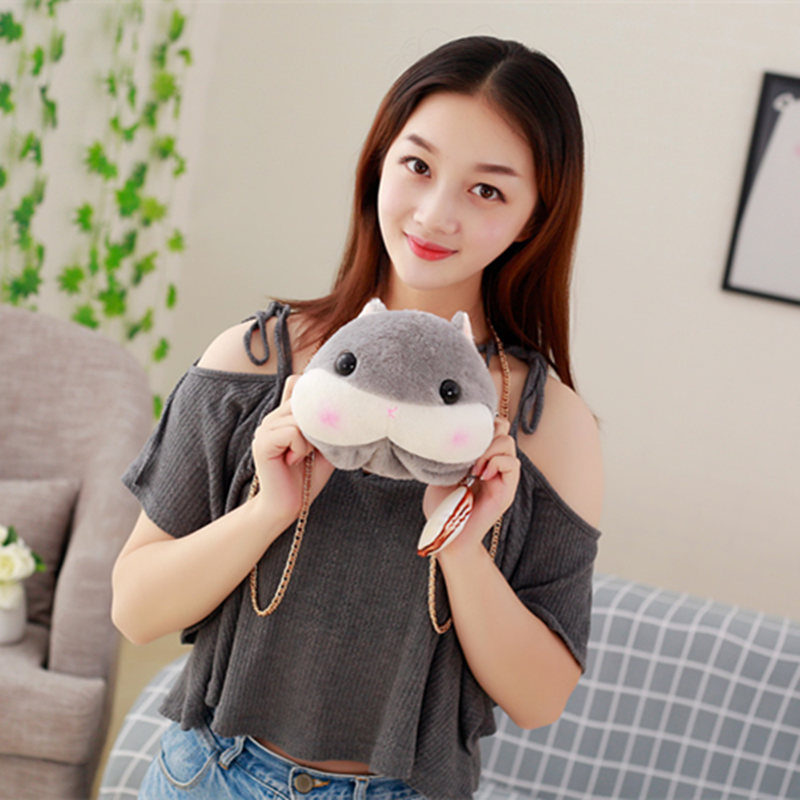 1pc Cartoon Plush Hamster Inclined Shoulder Bag Plush Hamster Purses Plush Cute Animals bags Gifts For Girls image