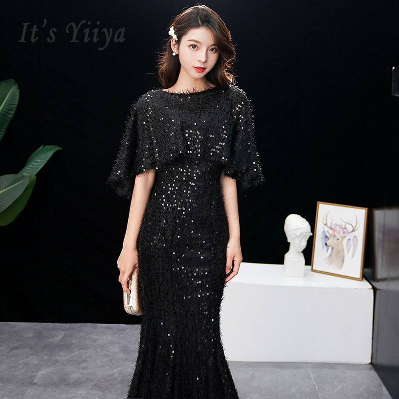It's Yiiya Evening Dress Elegant Short Sleeve Robe De Soiree 0-neck Women Party Dresses 2019 Long Plus Size Slim Prom Dress E578