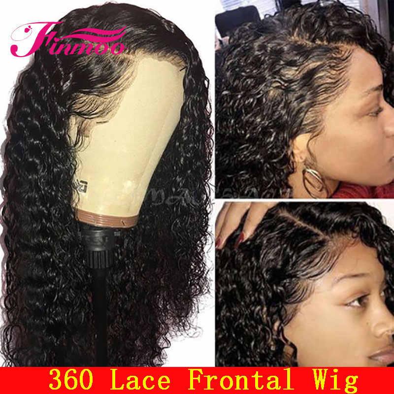 Finmoo 180% плотность 360 кружева спереди al парик предварительно сорвал с волосами младенца бразильские волосы Remy кудрявые кружева спереди человеческие волосы парики для женщин