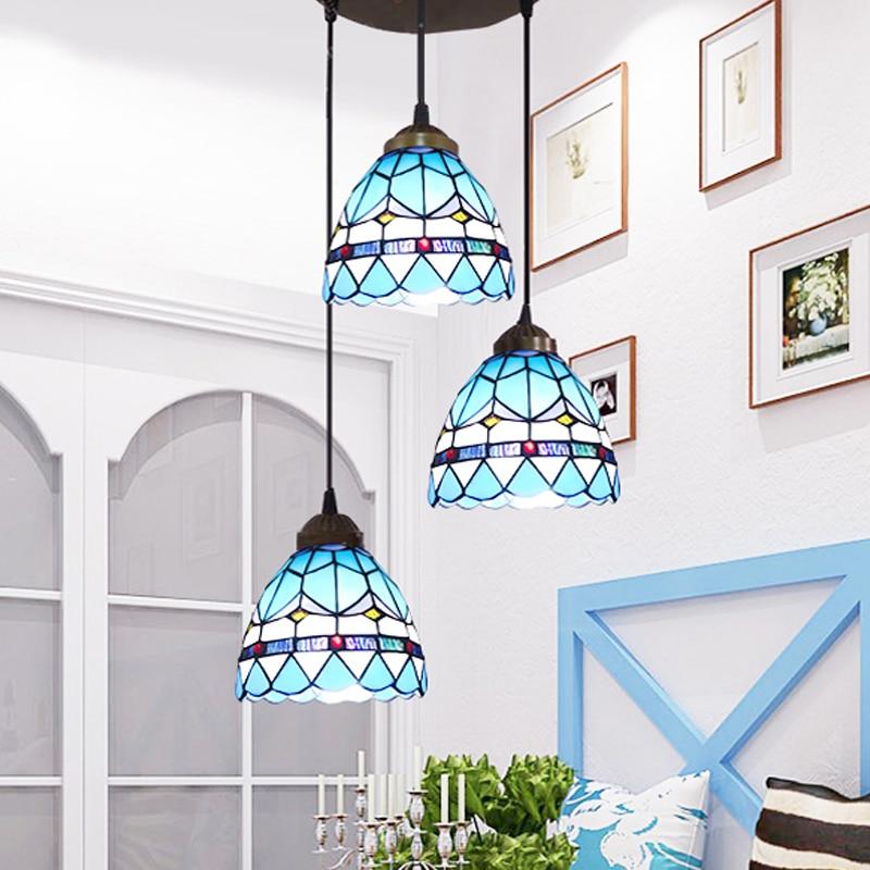 Middellandse Zee LED Ronde ijzeren glazen hanglamp Suspension - Binnenverlichting - Foto 2