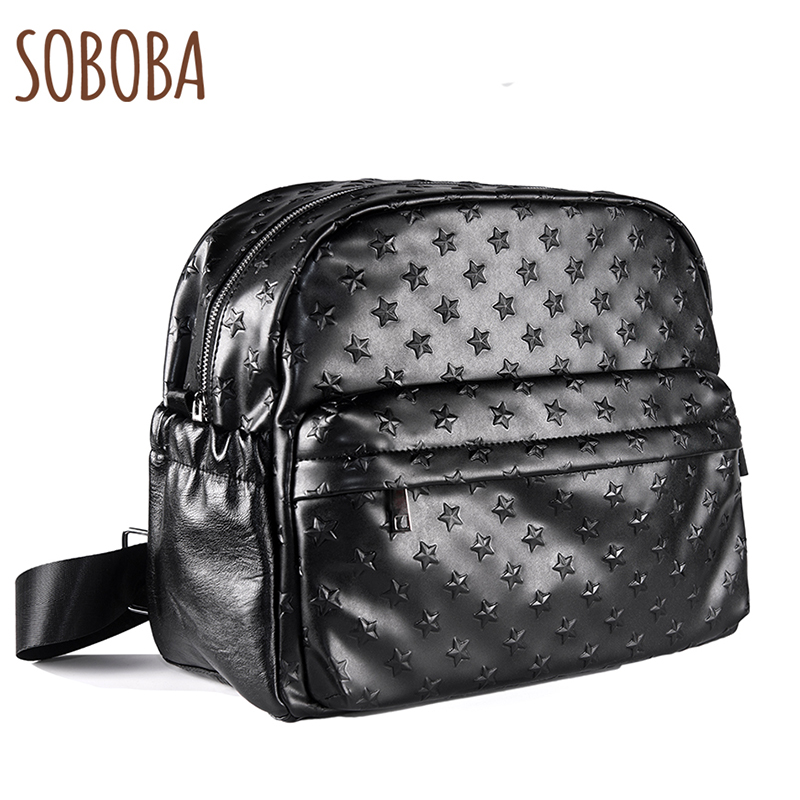 Soboba 2018 Diaper Bags for Mummy PU Leather Large Capacity Nappy Changing Bag Hanging on Stroller 3D Star Pattern Diaper Bag