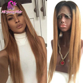 Root Black T1b/30 Blonde Ombre Full Lace Wig Glueless Virgin Brazilian Lace Front Human Hair Wigs with Baby Hair for Black Women