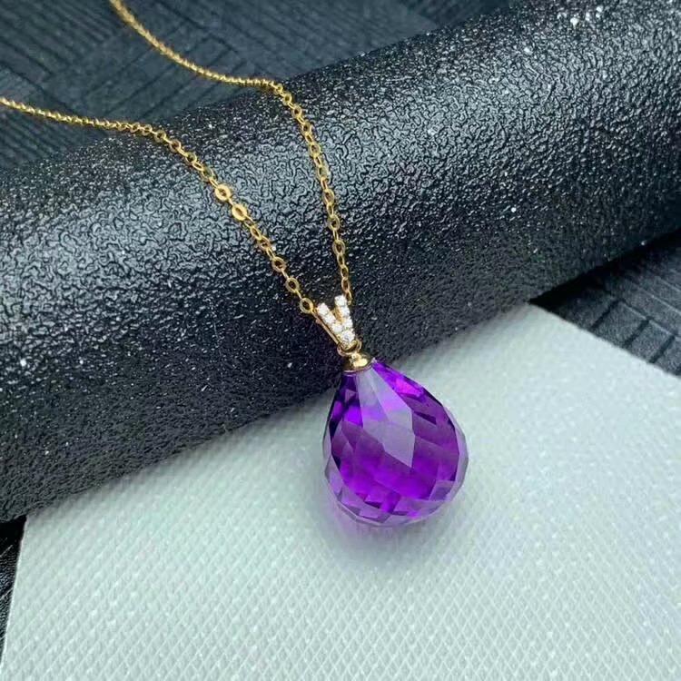 shilovem 18k yellow piezoelectric amethyst Pendants fine Jewelry women trendy no necklace classic new gift 13 16mm mymz1316002z in Pendants from Jewelry Accessories