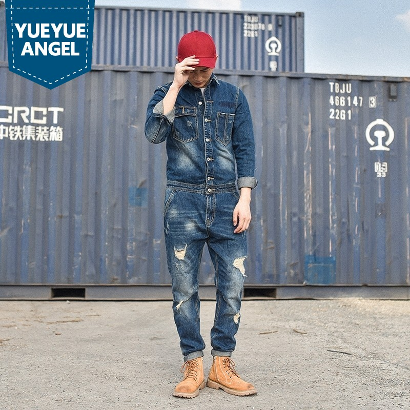 2019 Designer Fashion Mens Hole Denim Overalls Vintage Blue Jeans For Mens Harajuku Work Cargo Clothes Long Casual Streetwear