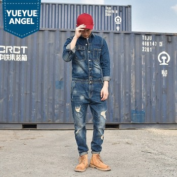 Designer Fashion Mens Hole Denim Overalls Vintage Blue Jeans For Mens Harajuku Work Cargo Clothes Long Casual Streetwear