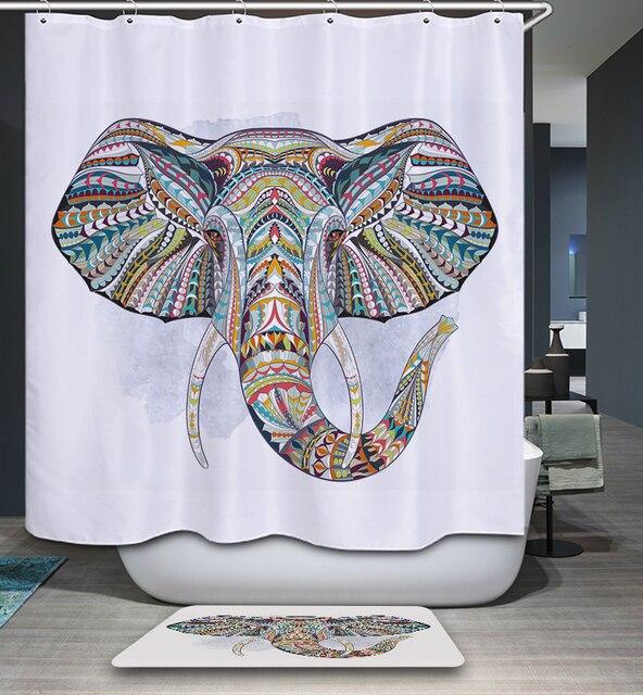 Mandala Inde Éléphant Motif Polyester Imperméable Rideau De Douche ...