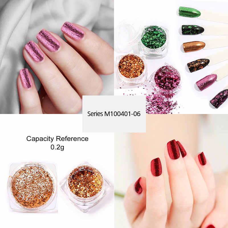 ROSALIND paznokcie sztuka brokat proszek pigmentowy żel polski lustro Manicure błyszczy do paznokci ozdoby UV chrom holograficzny paznokci