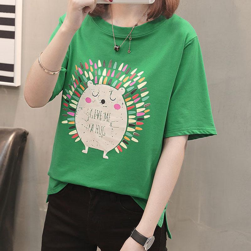 Kawaii cotton T-shirt loose tops 2018 summer short sleeve t shirt woman cute chic O-neck casual tees China clothes female pink