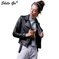 SHILO GO Leather Jacket Womens Autumn Fashion sheepskin genuine leather Jacket Star rivet laple pocket zipper metal belt coat