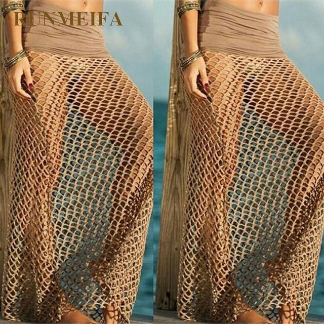 Fashion Bohemian Fishnet Beach Skirt Womens Crochet Maxi Skirts