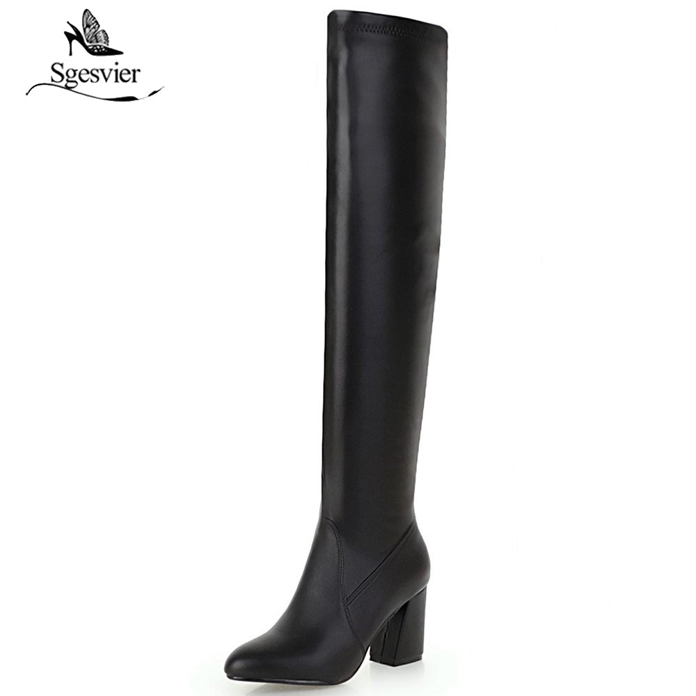Sgesvier Fashion Over Knee Boots Women Elastic Stretch Thick Heel Knight Boots Long Female Winter Boots zapatos mujer OX651 mixed colors fashion women boots autumn and winter thick heels knight boots stretch knee high shoes zapatos mujer botas