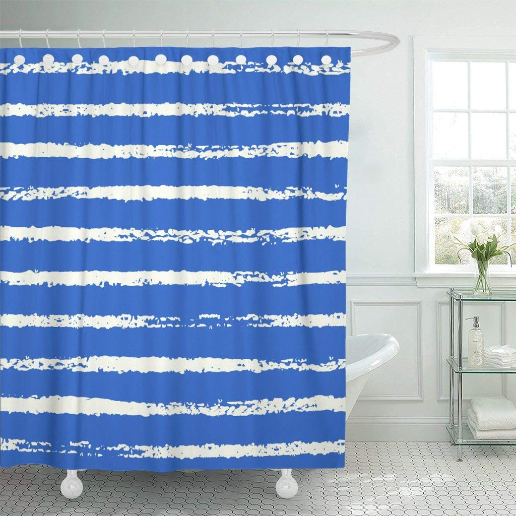 Us 14 4 46 Off Shower Curtain With Hooks Navy Fish Grungy Sketch Nautical Sea Rough White Stripes On Blue French Seaside Anchor Bathroom In Shower