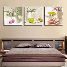 Quadros em tela para cozinha moda popular 3 painel de frutas parede moderno flores modular arte decorativa fotos para sala estar