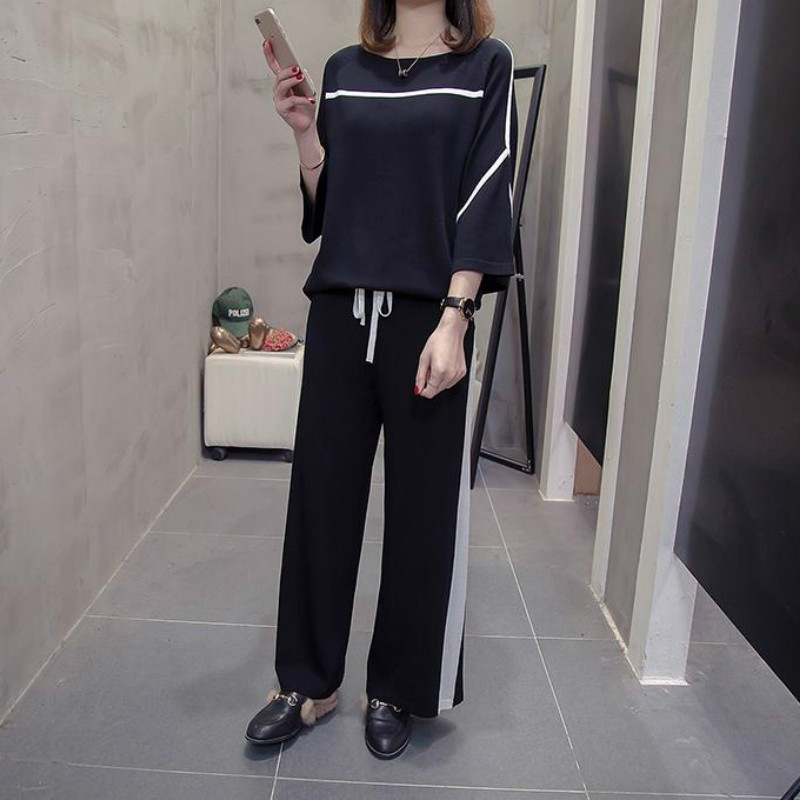 2019 autumn winter women's trousers tops suit Plus Size 200 pounds fat sister clothes Korean version of the sweater sports suit