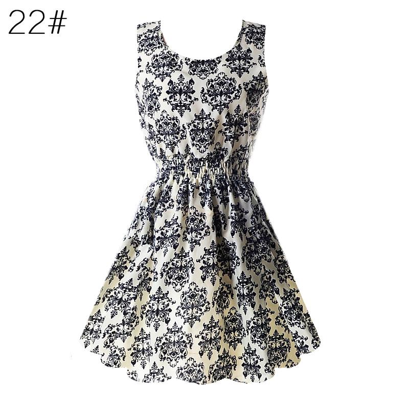 Sexy kobiety chiffon dress sundress plaża floral bez rękawów tank mini sukienki vestido 23