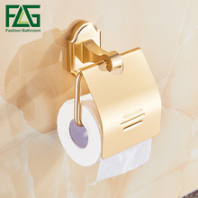 FLG Toilet Paper Roll Holder Space Aluminum Rack Gold Finish Wall Mounted Bathroom Accessories