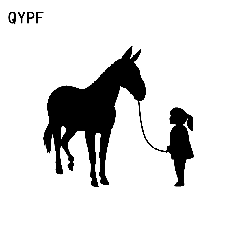 QYPF 15CM*14CM Funny Girl Walking Mule Waterproof Car Sticker Decal Black Silver Vinyl C15-3327
