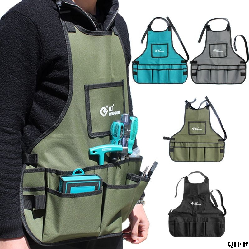 Electrician Hardware Toolkit Apron Waterproof Oxford Cloth Multi Organize Pockets Storage Pouch Portable Worker Use ToolJun18