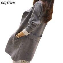 2017, Новая мода Autumnand зимние вязаные средней кардиган с длинными рукавами верхняя одежда однотонная женская свитер