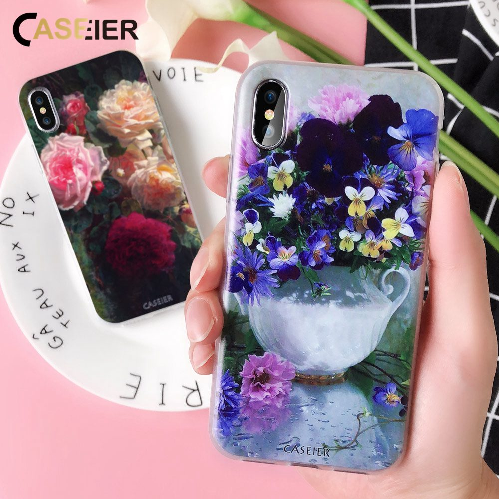 CASEIER Watercolor Painting Phone Case For iPhone X Flover Soft TPU Silicone Cover 7 8 6 6s 5 5S SE Funda Capa