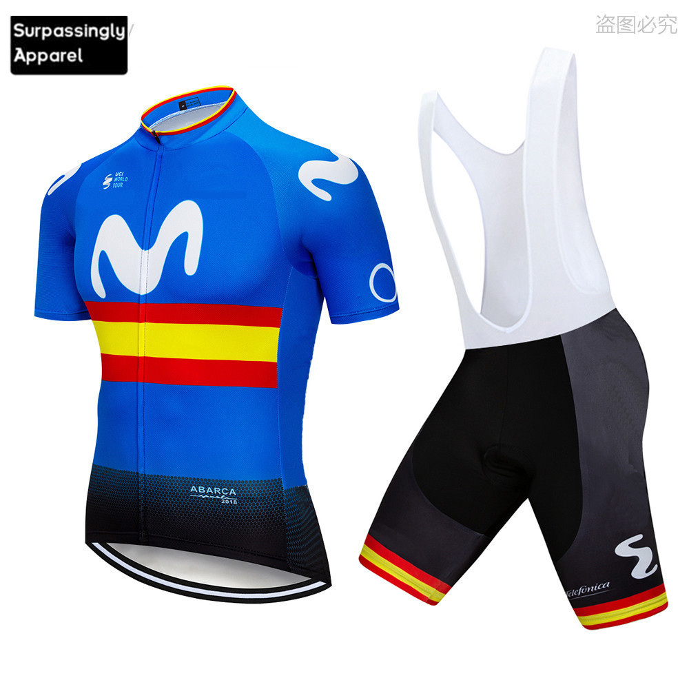 Outdoor Sports Bicycle Cycling Clothing Spain Custom Pant Jersey Suit Road Bike Set 2019 Cycling Jersey MTB GEL Padded Shorts Cycling Sets     - title=