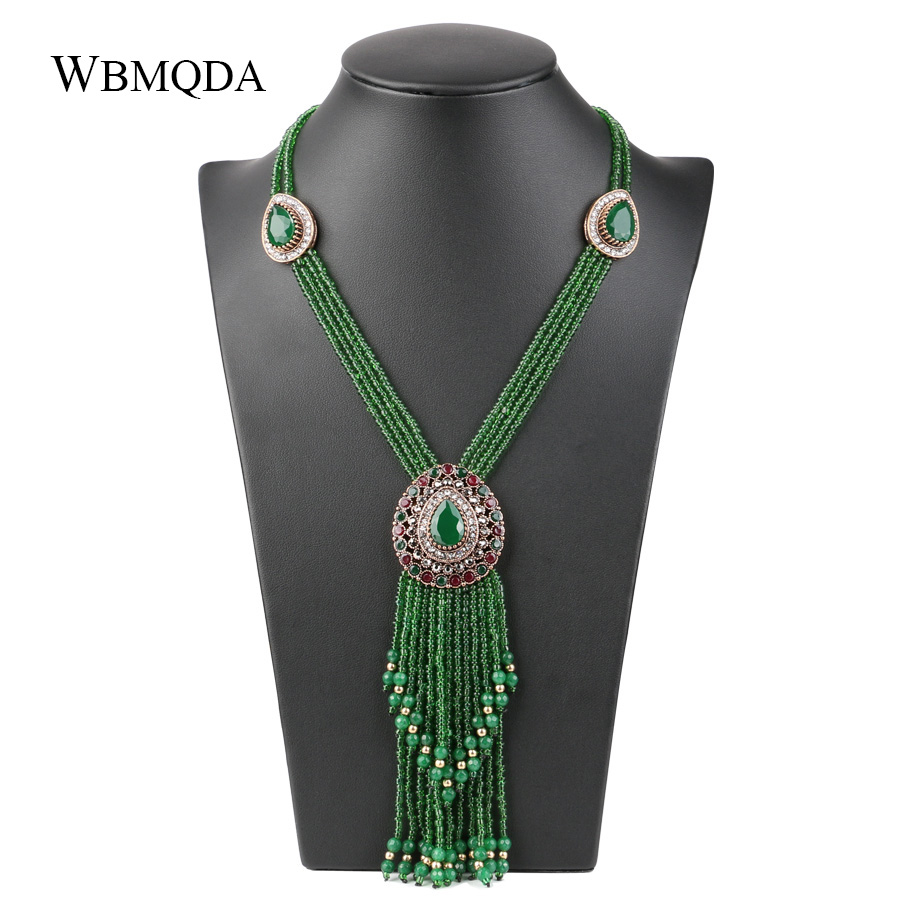 African Handmade Crystal Beads Tassel Necklaces Pendants For Women Vintage Long Layered Statement Necklace Jewelry Free Shipping trendy letter beads layered necklace for women