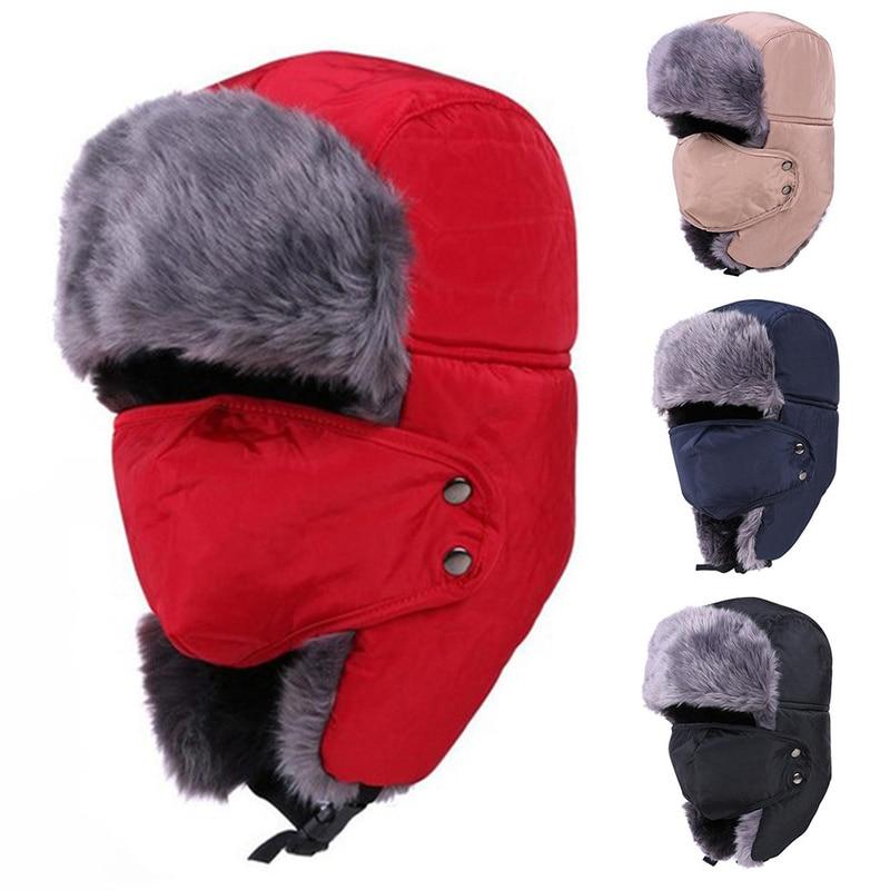 Outdoor Warm Hat Men Women Winter Riding Hiking Hat Skiing Cap Airtifial Fur Earmuffs Lei Feng Cap Outdoor Sport Fishing Cap