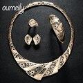 OUMEILY Nupcial Na Moda Africano Beads Imitado Conjuntos De Jóias de Cristal Para As Mulheres Anel Brinco Colar Nupcial Acessórios Vestido de Festa