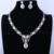 Loway romântico mulheres zircônia luxo branco banhado a ouro rodada colar pingente gota de água conjuntos de jóias xl1887