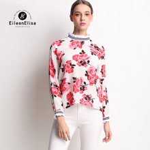 Women Blouse Shirt Chiffon 2017 New Fashion Summer Floral Print Shirts Runway Blouses Tops Office Ladies Clothing
