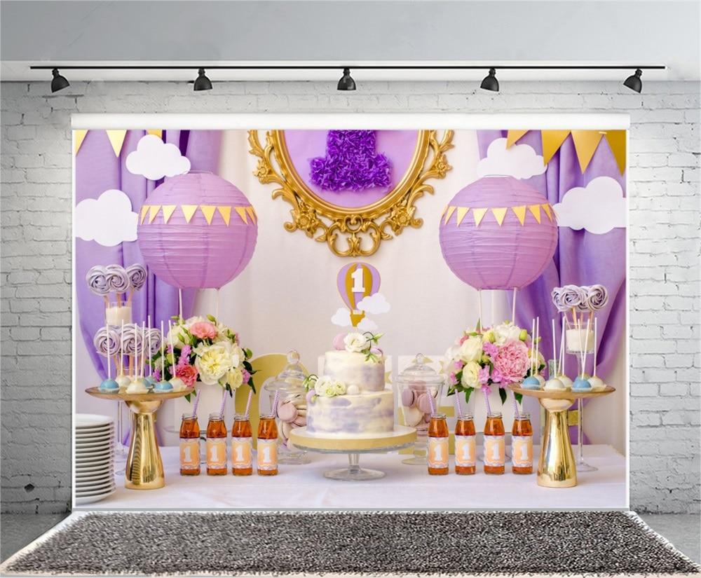 Laeacco Baby 1 Verjaardagstaart Bloem Lollipop Papier Gesneden Decor - Camera en foto - Foto 4