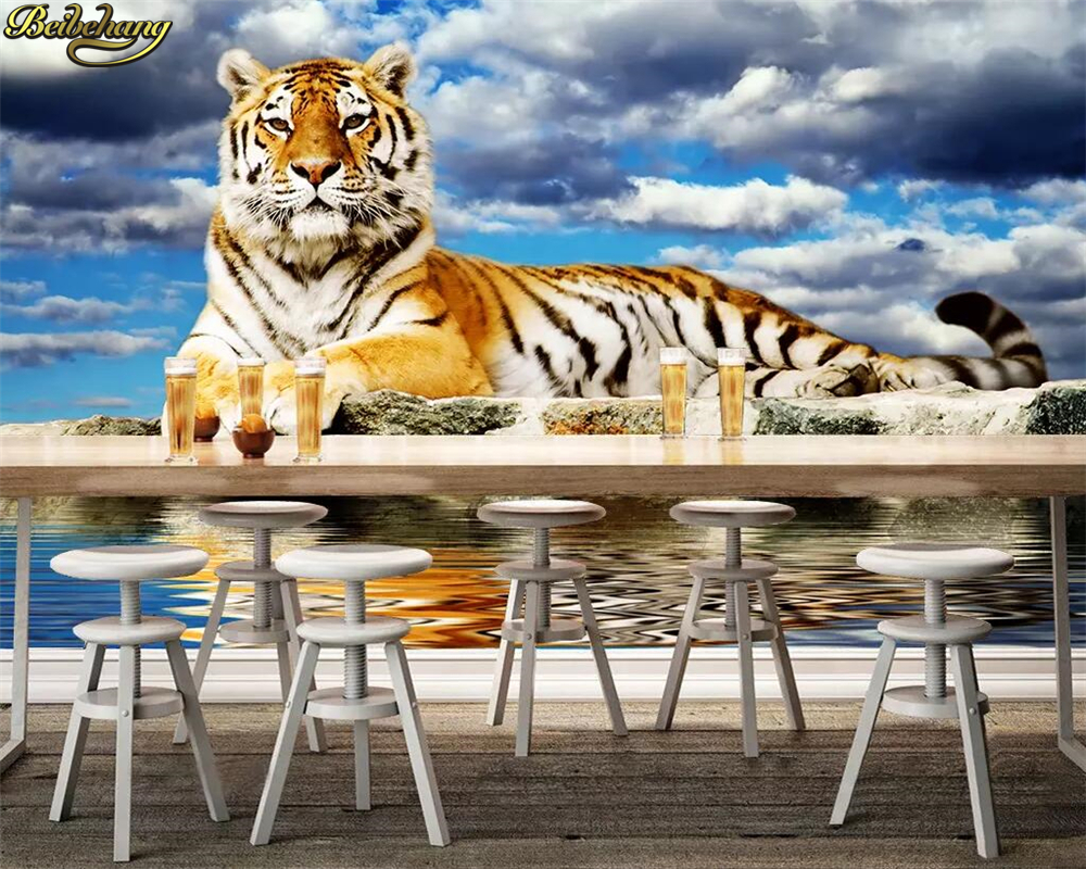 Beibehang Custom Photo 3d Wallpaper Mural Blue Sky White Clouds Tiger Background Wall Papers Home Decor Papier Peint Mural 3d