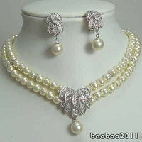 Nobility Quartz crystal Natural 2 Rows Real White Pearl 18KWGP Crystal Pendant Necklace Earrings Set