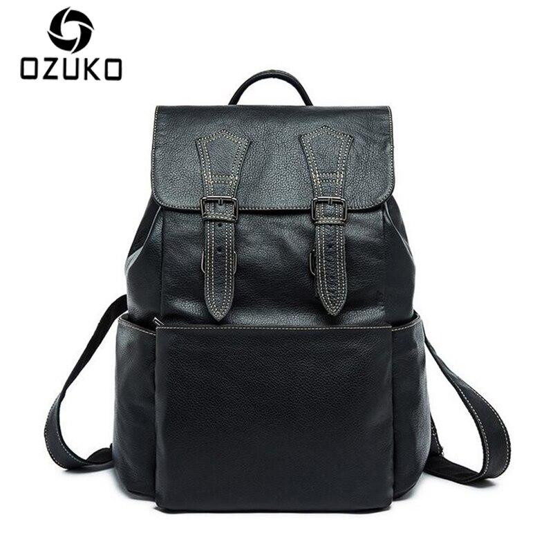 OZUKO 2017 Fashion Vintage Backpack Genuine Leather Men Bag High Quality Business Travel Backpack Laptop bag Casual Shoulder Bag