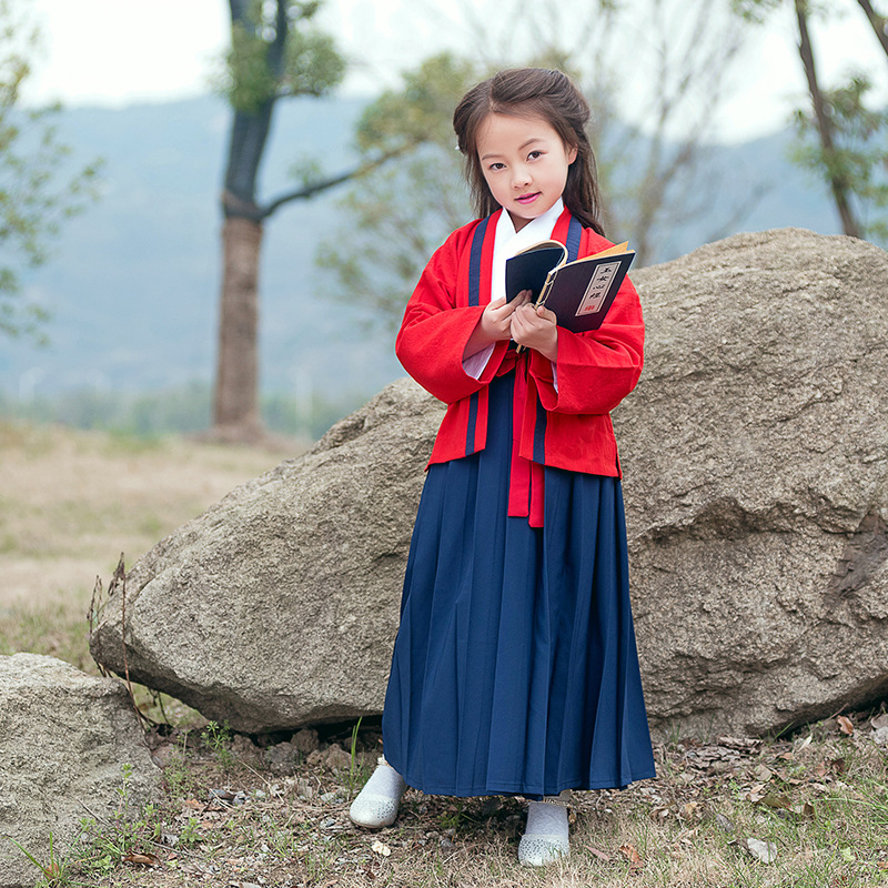 The Republic of China Clothes Children Retro Hanfu Tang Dynasty Clothing Chinese Traditional Hanfu Costume Performance