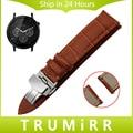 22mm venda de reloj de cuero genuino de la correa de liberación rápida para moto 360 2 46mm samsung gear 2 r380 r381 r382 mariposa hebilla de pulsera