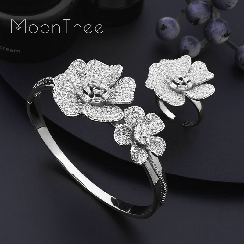 MoonTree Exclusive Super Luxury Floral Flower Blossom Cubic Zirconia Bangle Ring Set Nigerian Jewelry Set For Women