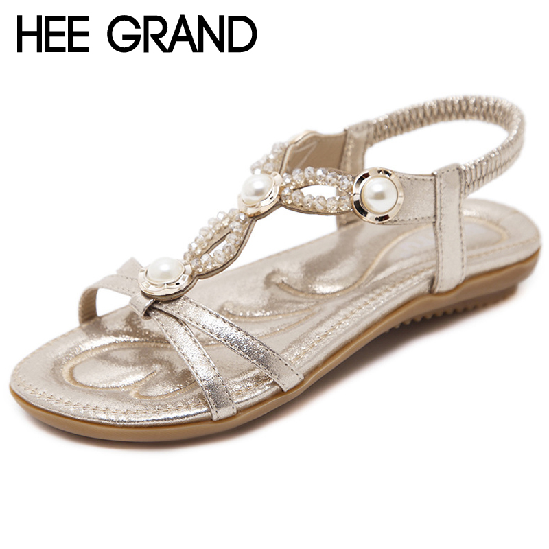 HEE GRAND Gold Summer Gladiator Sandals Platform String Bead Flats Casual Slip On Soft Flat Shoes Woman Size 35-42 XWZ5043 hee grand 2017 creepers summer platform gladiator sandals casual shoes woman slip on flats fashion silver women shoes xwz4074