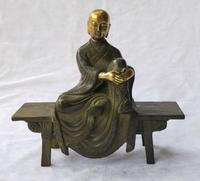 8 INCH Antique collection chinese old bronze monk sculpture home decoration metal craft Bench monk statue