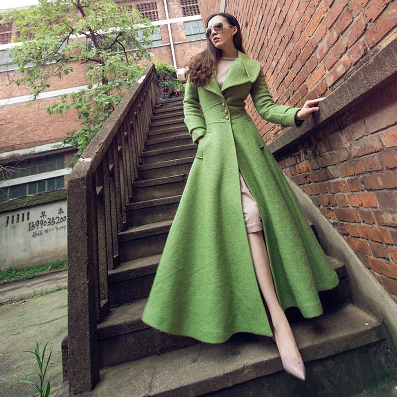 2019 Winter Casual Green Wool Long Coat Women Autumn