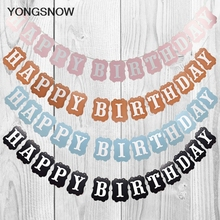 Happy Birthday Garland Baby Shower Kids Birthday Decoration Paper Hanging Bunting Banners String Streamer Flags Party Supplies