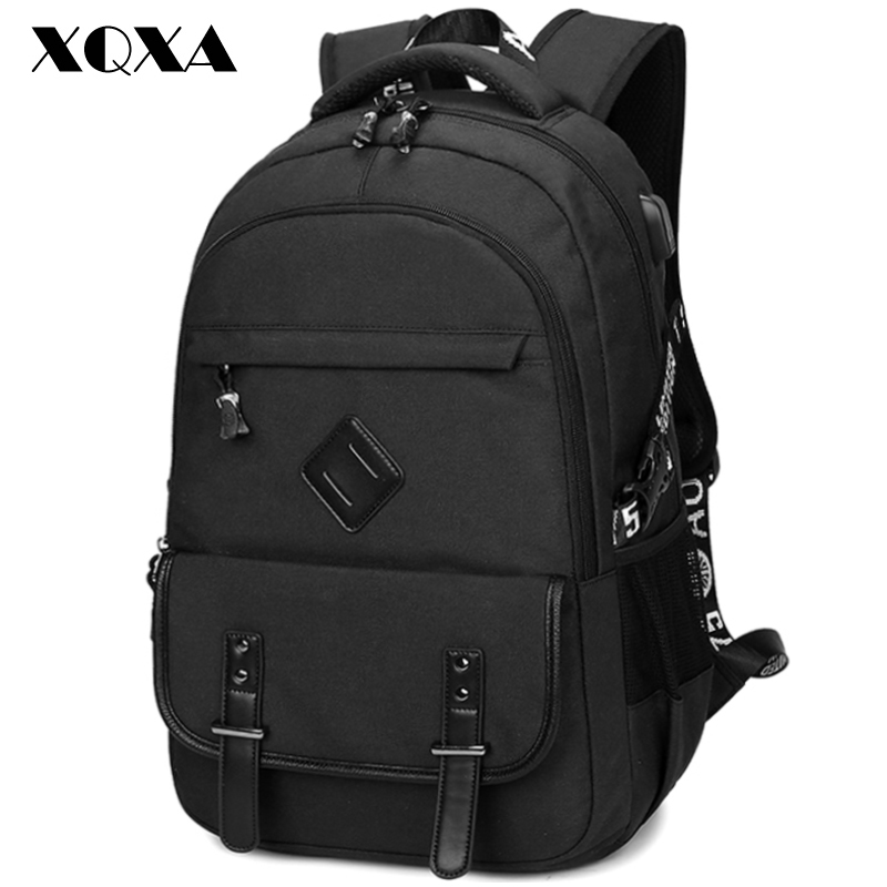 XQXA Backpack Men Causal Daypack Preppy Style School Backpacks for Teenagers High School Middle Mochila Black Large Capacity voyjoy t 530 travel bag backpack men high capacity 15 inch laptop notebook mochila waterproof for school teenagers students